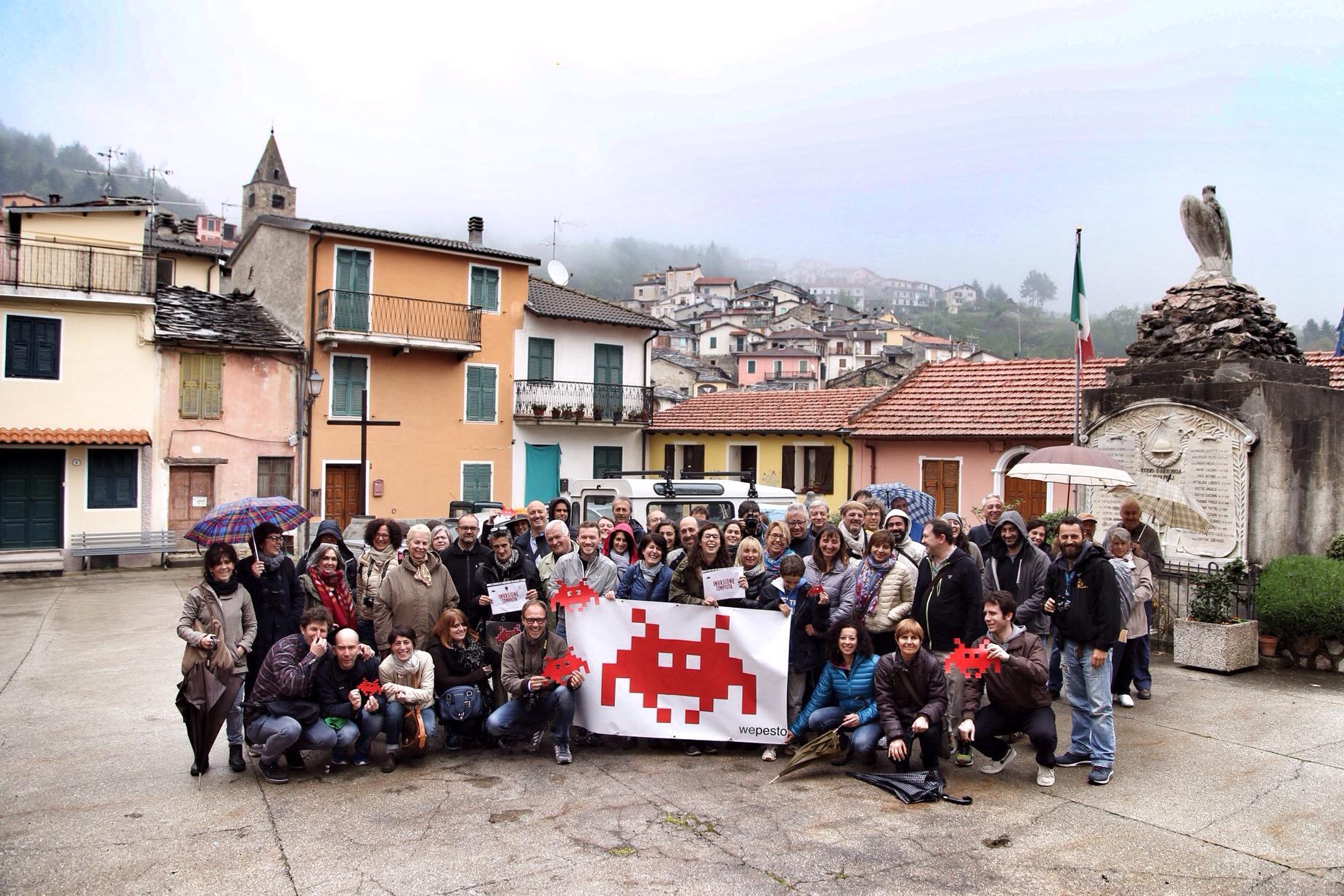 Il gruppo di invasori al termine dell'invasione di Cosio d'Arroscia